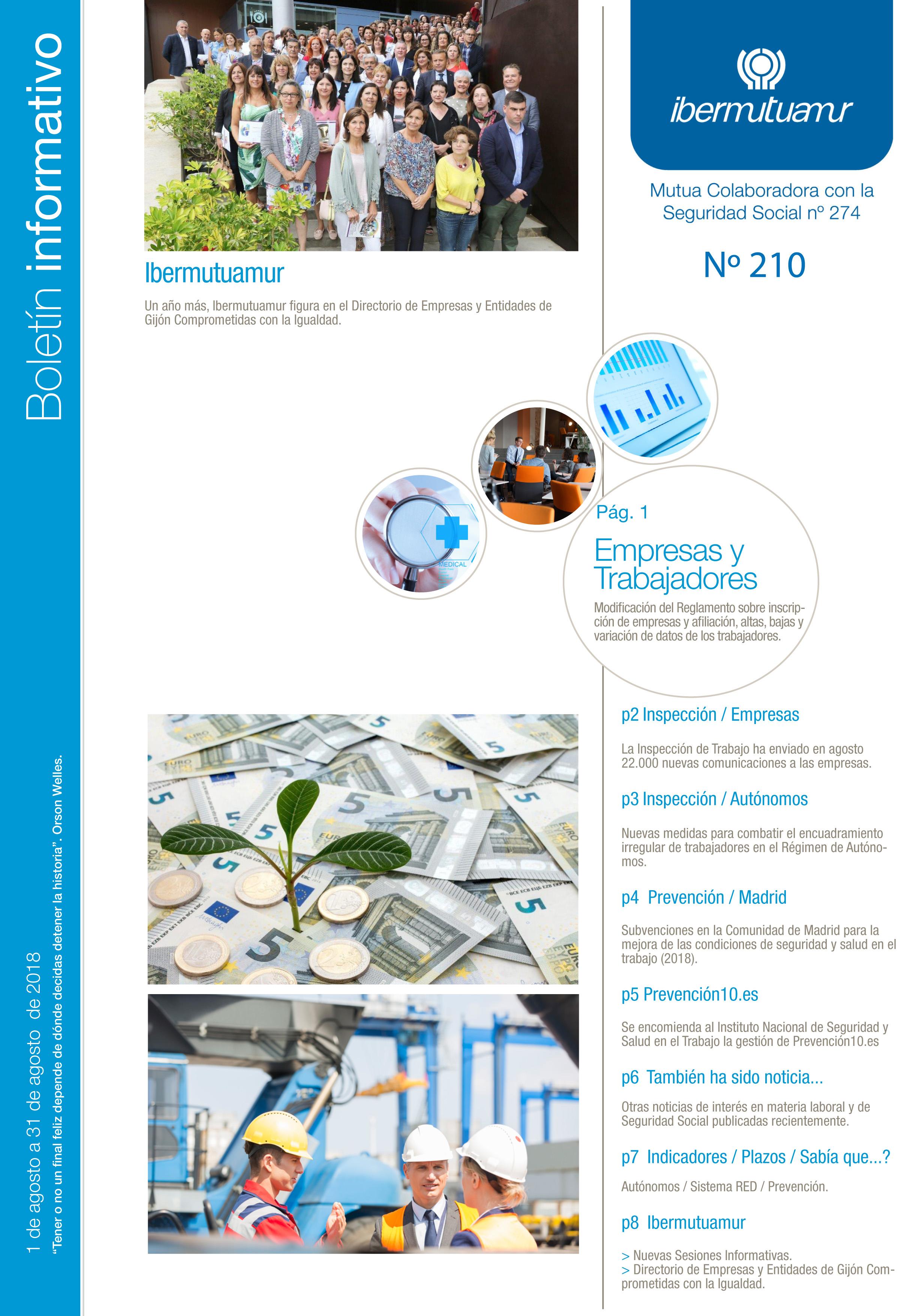 Ya está disponible el Boletín informativo de Ibermutuamur nº 210